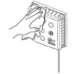 Протираем пыль с оголовка приточного клапана КИВ Квадро