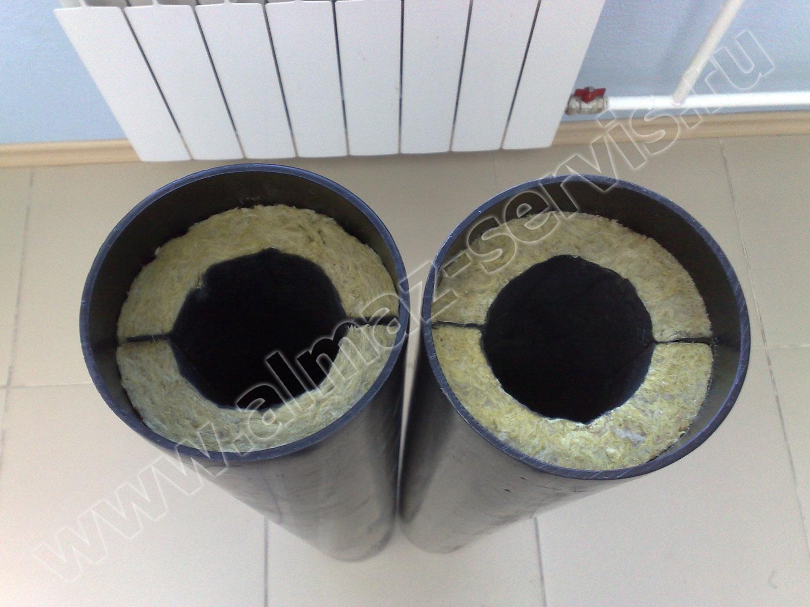 Высококачественная чёрная полиэтиленовая труба Ø 132 (изготовление по нашей технологии на собственном экструдере) Теплошумоизоляция из базальтовых горных пород - экологически безопасна, абсолютно не горюча, химически стойка, имеет неограниченный срок службы.